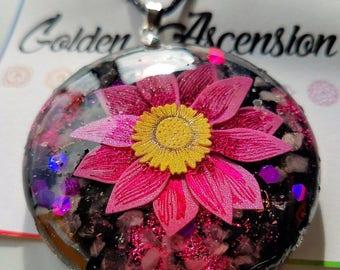 Pink Lotus Rose Quartz Round Orgonite Pendant