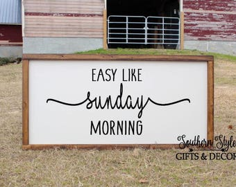 LARGE Easy Like Sunday Morning Sign Farmhouse Fixer Upper Style Rustic Decor Master Bedroom Wood Framed Wedding Anniversary Gift for her