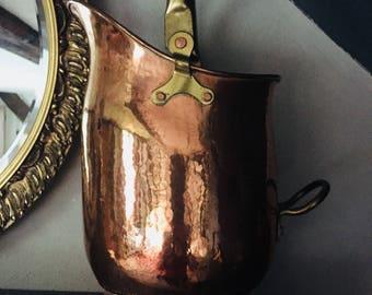 Copper Pitcher | Vintage Pitcher | Vintage Copper | Copper Decor | Copper Fireplace Bucket