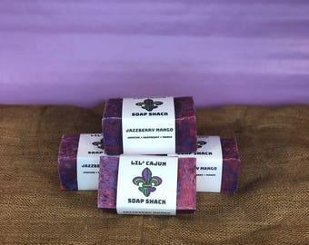 Jazzberry Mango Jasmine Raspberry Mango Natural + Vegan + Organic + Boldly-Scented + Louisiana-Handmade Big Block Soap 11.5 FL OZ