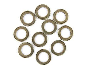 x 10 ring - connector antique bronze 15mm (20)