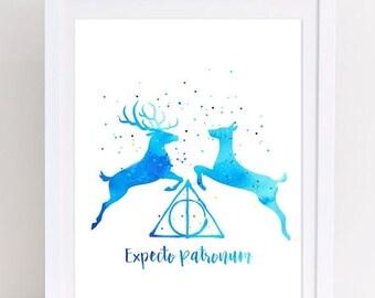70%OFF Harry Potter Patronus Poster Expecto Patronum Watercolor Poster Printable Doe Patronus Stag Patronus Watercolor Harry Potter Print Ki