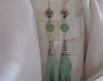 Gorgeous Green Tassel Dangles- Sexy Tassel Earrings- Bohemian Tassel Dangles-  Beautiful Green Tassel Earrings- Exotic- Gypsy- Spring-