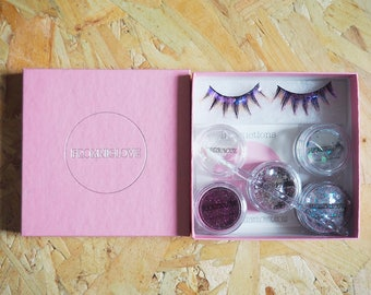 Passionate pink BIODEGRADABLE Glitter Eyelashes and Glitter Pack