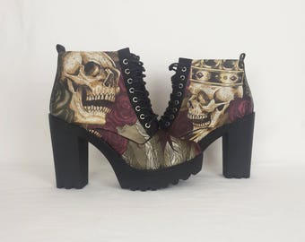 Platform shoes, skull boot, alternative, skull, gothic, platform boots, chunky heels, skull heels, rock your sole, goth, steampunk, clothing
