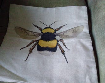 Yellow Bumble Bee cushion cover - Free postage