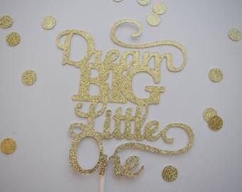 Baby Shower Cake Topper, Dream Big Little One Cake Topper, Baby Cake Topper, Glitter Baby Shower Cake Topper, Glitter Cake Topper