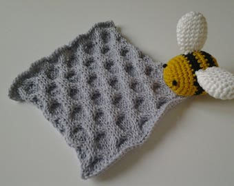 Plush bee and cells, handmade