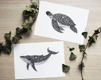 Set of 2 prints Whale & Sea Turtle // A5 Horizontal size Print, printed on white 250g/m paper. Sea Animals. Designed by Menisart