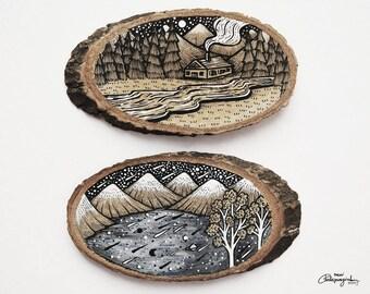 Set of 2 Mountain Sceneries // Original Wood Slice Art, Wood Art. Designed by Menisart