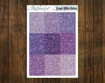 Variety of Purple Glitter Header Stickers for Planners