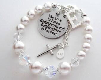 God daughter & Godparent Sterling Silver Swarovski bracelet Goddaughter gift, baptism gift , goddaughter bracelet gift for goddaughter girls