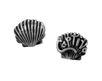Captiva Island Scallop Shell Large Hole Sterling Silver Bead - Compatible with ALL Popular Bracelet Brands - Made in the USA! - Item #20858