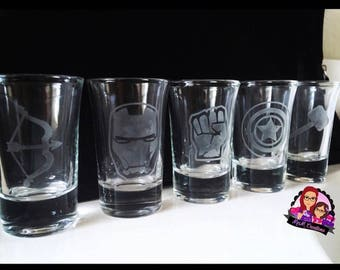 Superheroes shot glasses