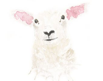 Spring Lamb Watercolour Print