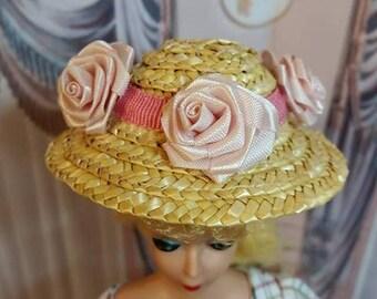 Vintage Japan Straw Hat for Vintage Barbie Skipper Midge and Friends