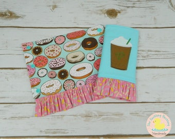Pre-Order* Glazed Donut Tula Accessories, Customized Options Available, Coordinates with Tula Glazed, Iced Coffee Embroidery