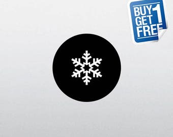 Snowflake - Macbook Apple Decal Sticker / Laptop Decal / Apple Logo Cover / 2 for 1 price