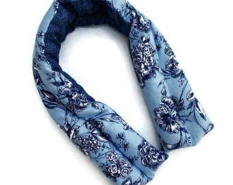 Extra long neck wrap, Blue floral rice bag, Stress relief, Shoulder pain, Cooling pack, Heat pack, Care package idea, Lavender Gifts for her
