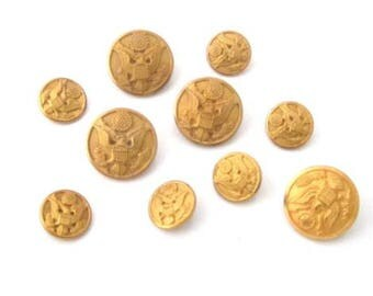 Waterbury Button Co Vintage Lot Of 9 Military Gold Toned Buttons*Us*Eagle*918D