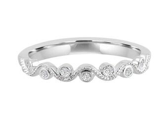 Bezel Set Diamond 10k White Gold Milgrain Stackable Wave Wedding Band Ring