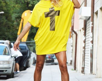 New Extravagant Casual Loose Short Sleeves Tunic, Asymmetrical Maxi Yellow Cotton Top, Tunic with Cross  by SSDfashion