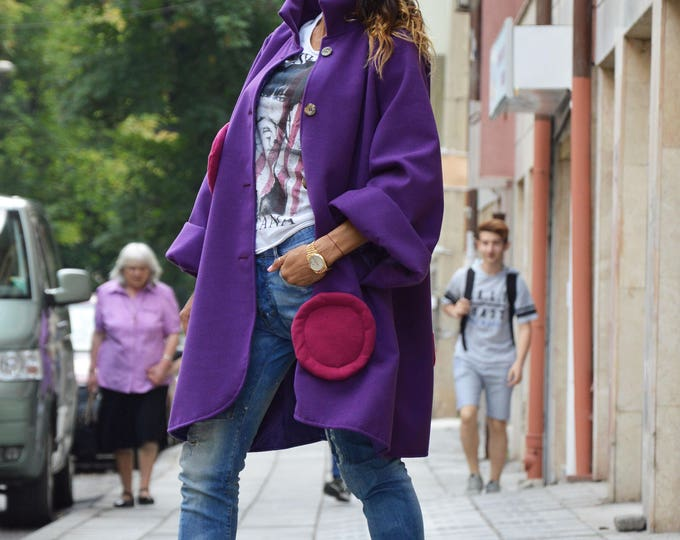 Womens Purple Coat, Maxi Loose Coat, Comfortable Wool Warm Coat, Kimono Coat, Winter Cape Coat By SSDfashion