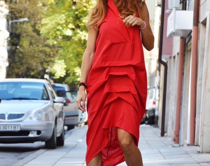 New Red Linen Long Dress, Daywear Extravagant Loose Dress, Casual Maxi Dress, Sleeveless Kaftan by SSDfashion