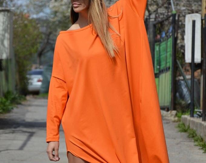 Casual Orange Maxi Kaftan, Extravagant Cotton Tunic Dress, Asymmetric Sleeveless Tunic, Maxi Tunic Top by SSDfashion