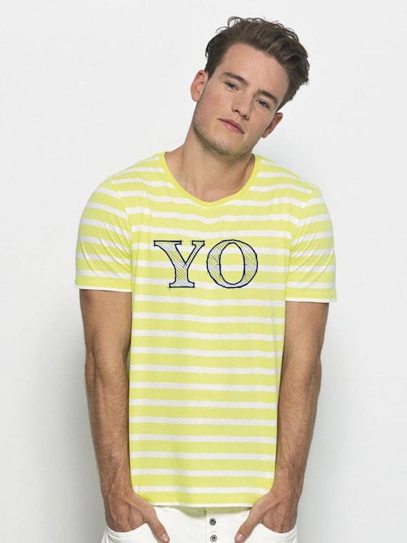 Round neck men short sleeve t-shirt stripes YO