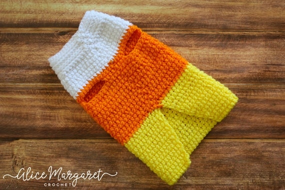 Candy Corn Dog Sweater Small Breed Crochet Dog Costume