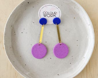 Circle Drop Earrings in a two tone colour way. Made from Polymer Clay & Brass.