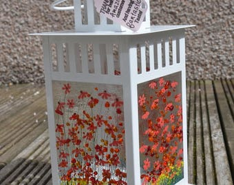 Handmade Fused Glass Art - Gerbera Lantern