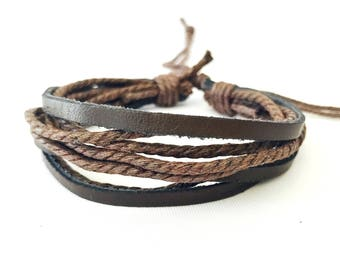 Mens Rope Bracelet, Brown Layered Bracelet, Leather Bracelet, Rope Bracelet, Mens Brown Bracelet, Hipster Bracelet, Men Rope Bracelet