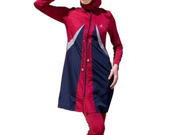 2016 Adabkini Gonca Muslim Swimsuit Islamic Full Cover Modest Swimwear Beachwear