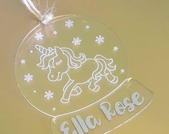 Unicorn Bauble, Personalised Christmas Tree Decoration, Christmas Ornament, Personalised Bauble, Christmas Decorations