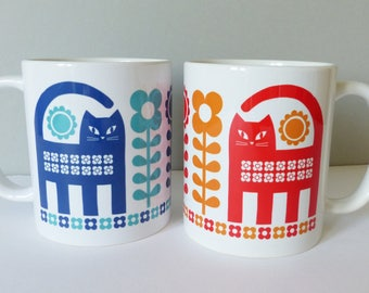 Retro Scandi Cat Mugs, Scandinavian Cat Mug, Cat and Flowers Mug, Vintage Cat Mugs, Mid Century Cat Mugs, Cat Coffee Cug