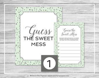Mint and Silver Baby Shower Guess The Mess Game - Printable Baby Shower Guess The Sweet Mess Game - Mint and Silver Baby Shower - SP152