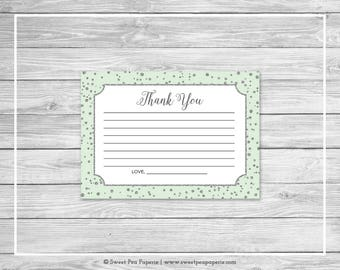 Mint and Silver Baby Shower Thank You Cards - Printable Baby Shower Thank You Cards - Mint and Silver Baby Shower - Thank You Cards - SP152
