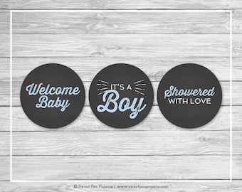Chalkboard Baby Shower Cupcake Toppers - Printable Baby Shower Cupcake Toppers - Blue Chalkboard Baby Shower - Cupcake Toppers - SP156