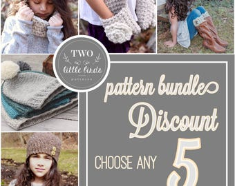 Crochet Pattern Bundle {5}, choose any 5 patterns, crochet pattern discount, crochet pattern deal