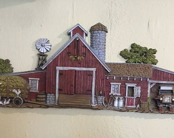 Vintage Burwood Products Barn Scene Plaque