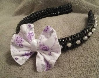 HEADBAND colors black base, pearl beads, floral fabric bow