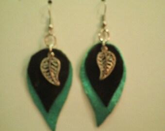 Loop earrings, black, blue leather