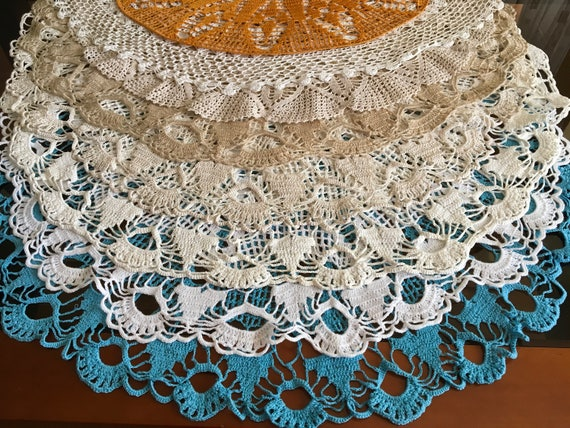 Doily Crochet Round Lace Cotton Doily Large Vintage Handmade Doilies White Beige Blue Ochre Ecru Doilies Tablecloth Mothers day Gift for Mom