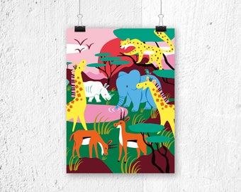 Poster Safari - print kids room - children's bedroom - poster animals poster print - poster for boys girls gift cute poster animal print