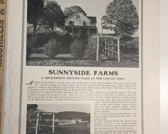 Sunnyside Farms New Canaan Connecticut. Antiquarian MAGAZINE ARTICLE 1928