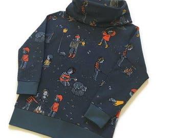 Camping sweatshirt, Childrens Sweater, Organic Kids Sweatshirt, Jumper, Cosy cowl neck, Winter clothing, Warm kids clothes, Toddler top