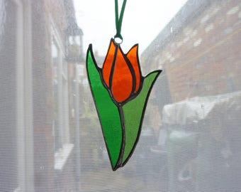 pretty tulip stained glass suncatcher
