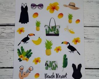 Planner Stickers-Beach Resort Decorative Stickers